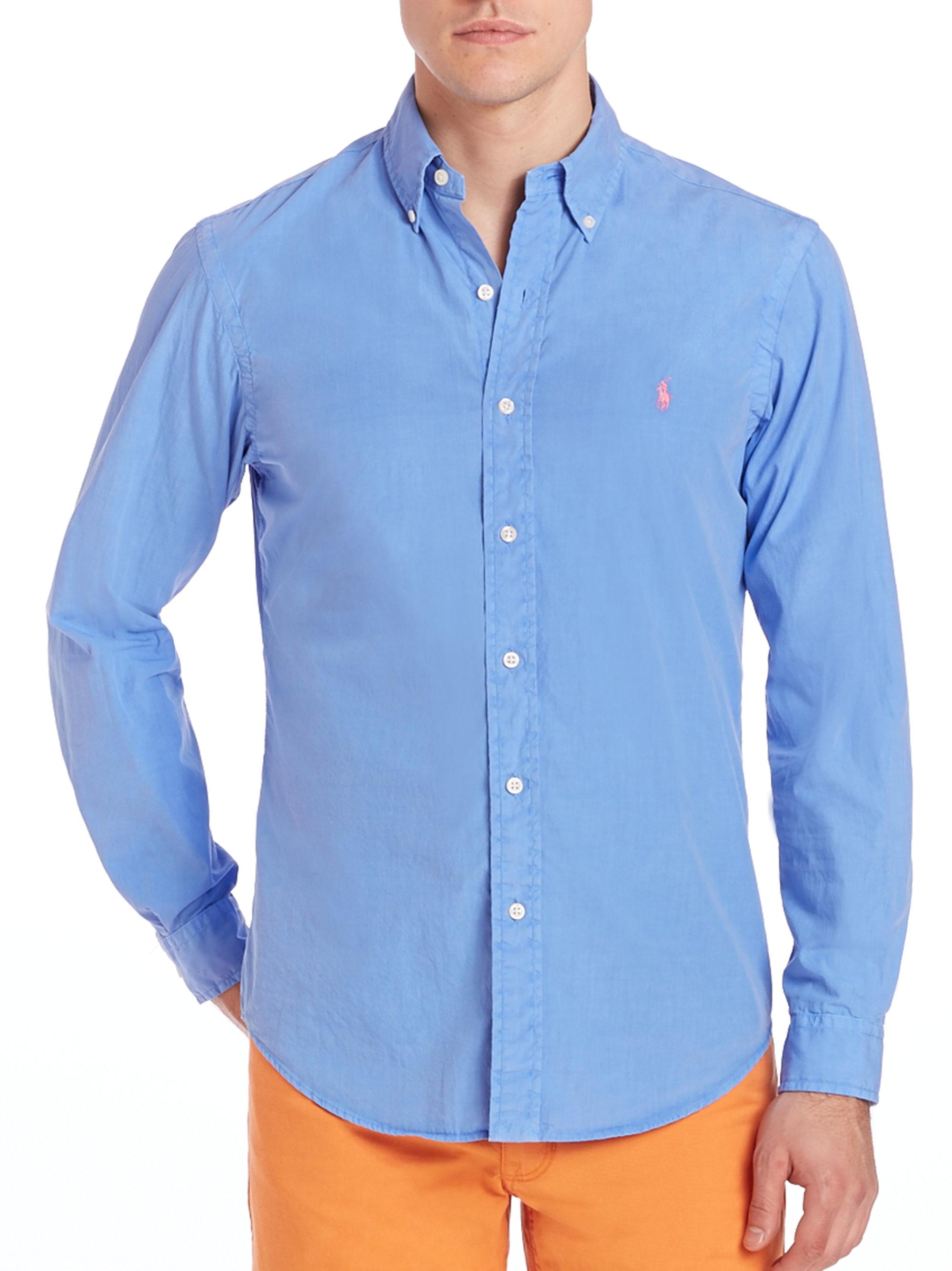 Polo ralph lauren Poplin Button up in Blue for Men Lyst f5eab95afe0
