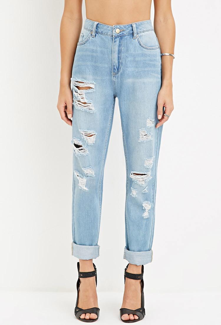 lyst forever 21 distressed boyfriend jeans in blue. Black Bedroom Furniture Sets. Home Design Ideas