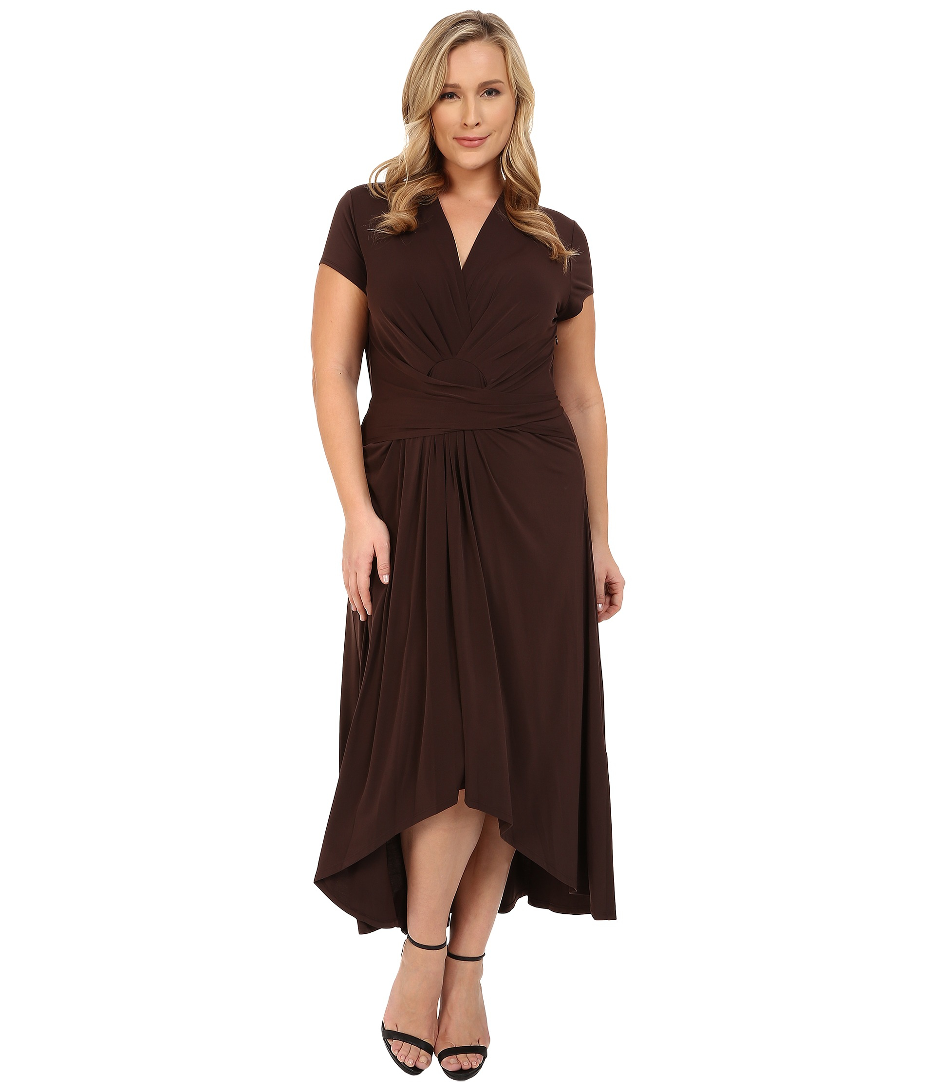 michael michael kors plus size cap sleeve maxi wrap dress in brown