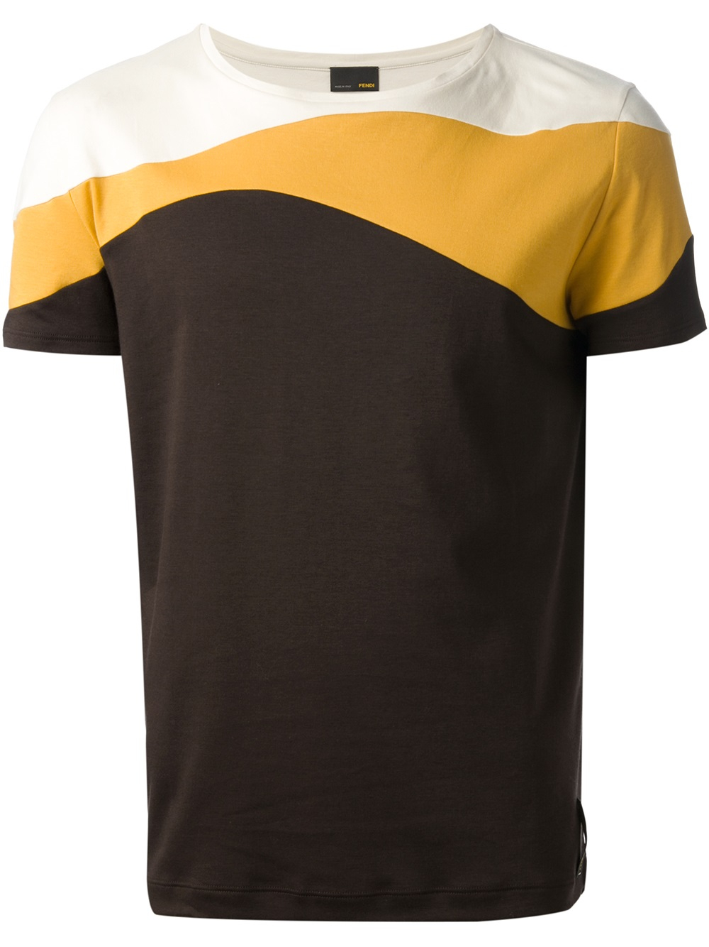 Fendi Colour Block Tshirt In Brown Yellow For Men Lyst