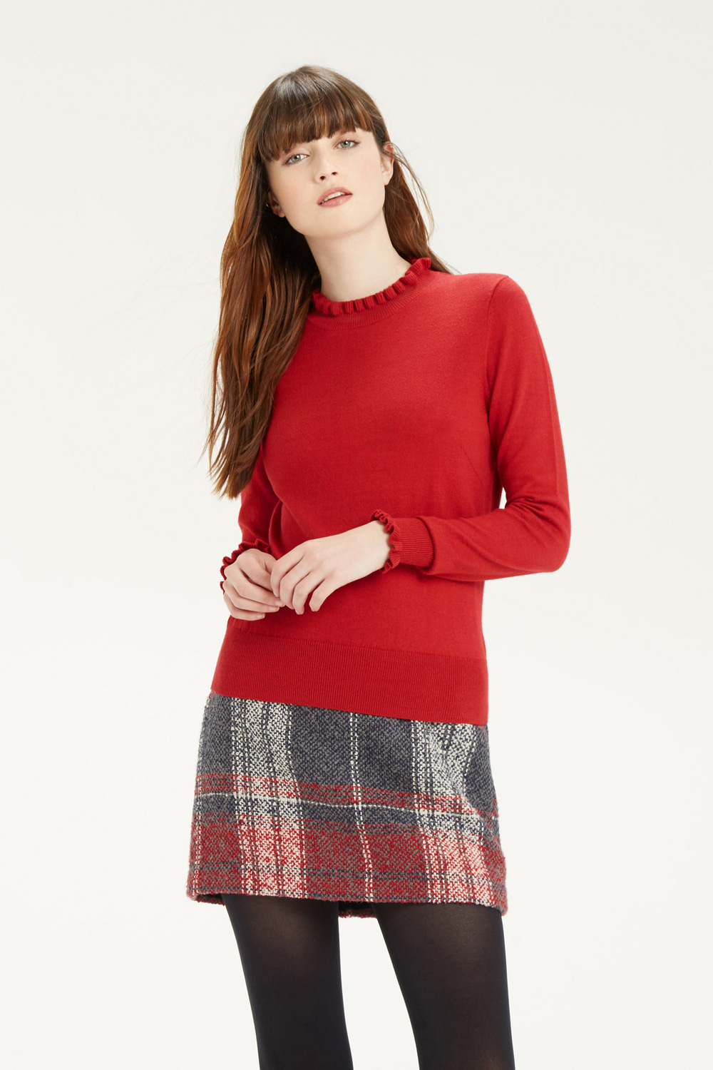36ce3686b0ee Oasis Cute Frill Knit in Red - Lyst