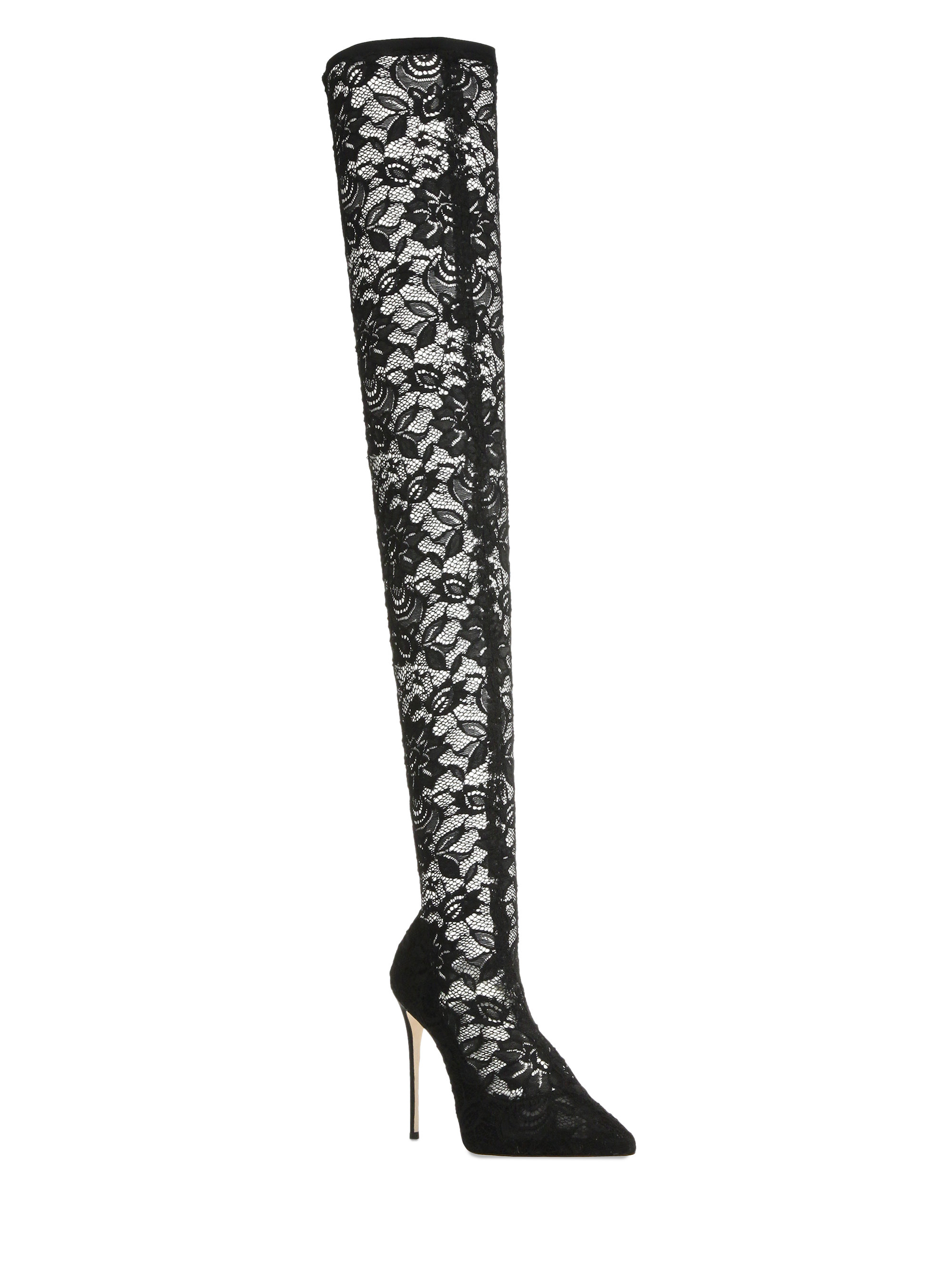 dolce gabbana lace thigh high point toe boots in black
