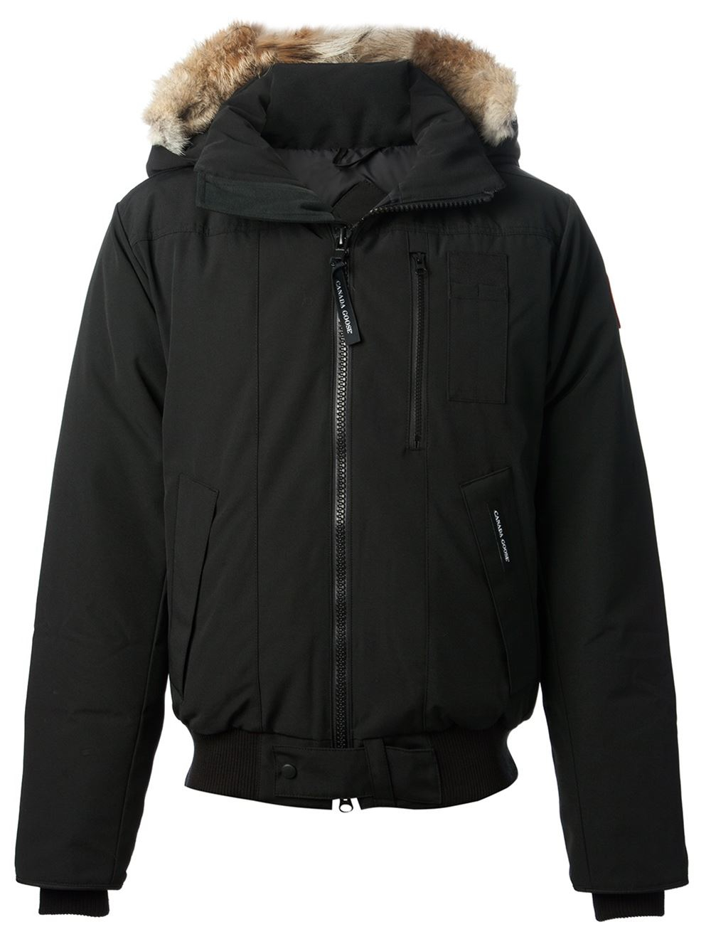 canada goose 39 borden 39 feather down bomber jacket in black. Black Bedroom Furniture Sets. Home Design Ideas