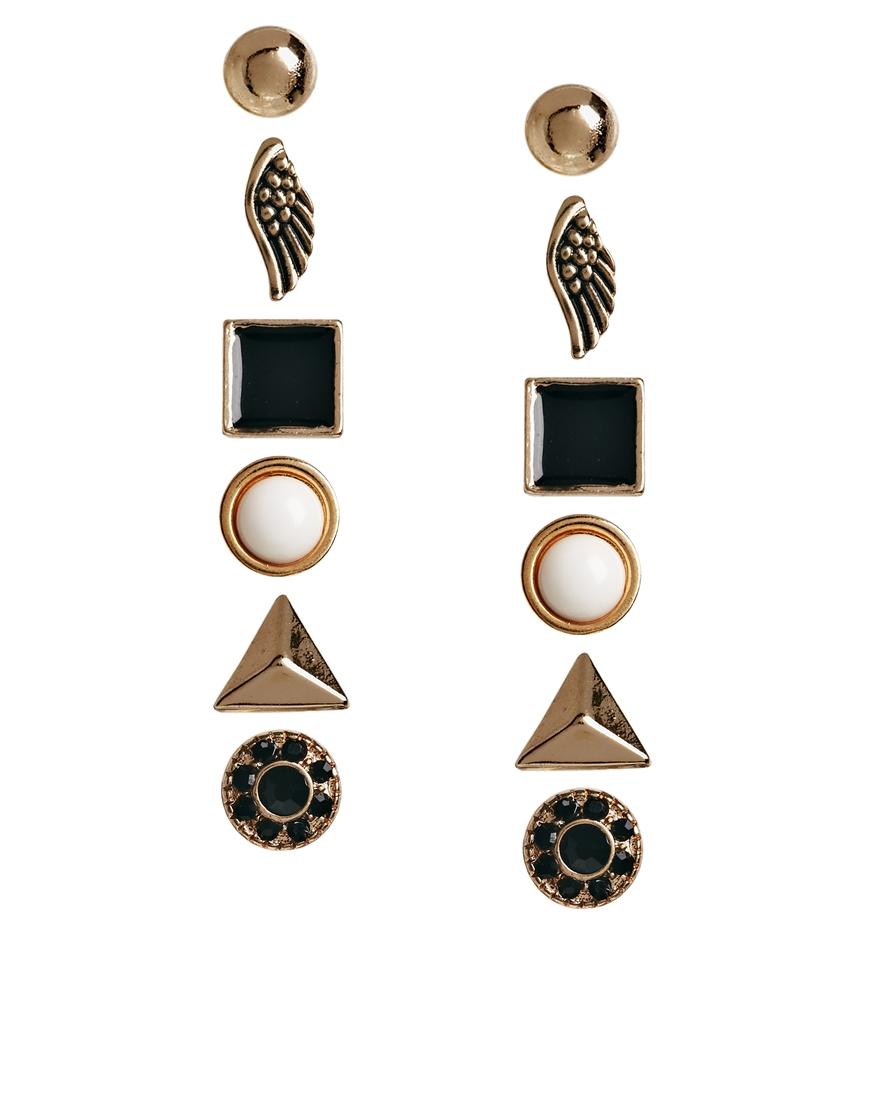 65acf9b2a ALDO Prigosien Multipack Stud Earrings in Black - Lyst