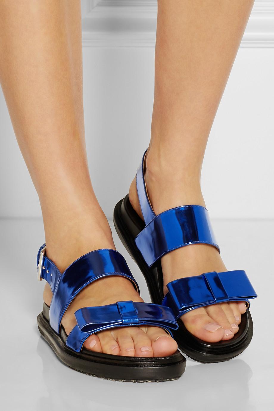 Lyst Marni Metallic Leather Sandals In Blue