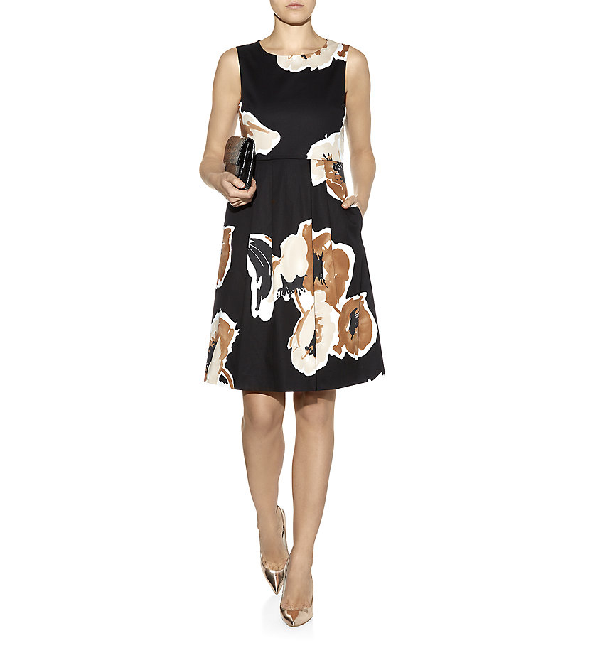 max mara studio sleeveless floral dress in black floral. Black Bedroom Furniture Sets. Home Design Ideas