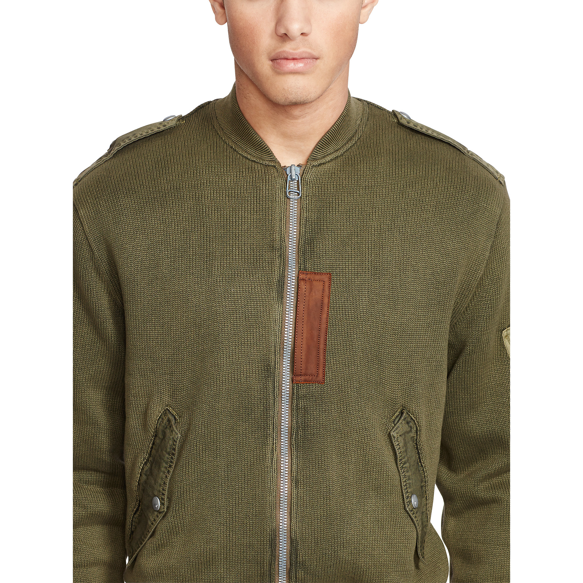 Polo ralph lauren Cotton Sweater Jacket in Green for Men | Lyst