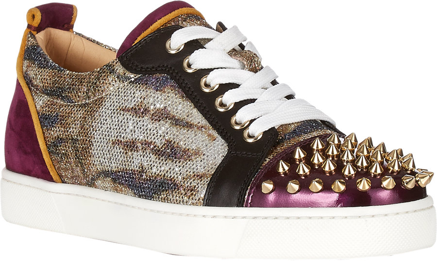 christian louboutin leopard louis junior spikes sneakers