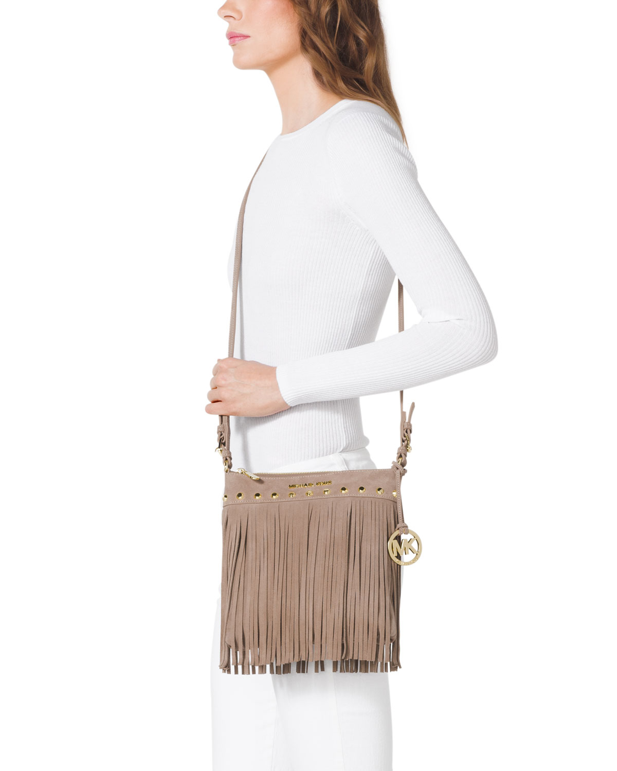 2fe8bc66f6498 ... canada lyst michael michael kors small billy messenger bag in natural  b0c1a 0fb81