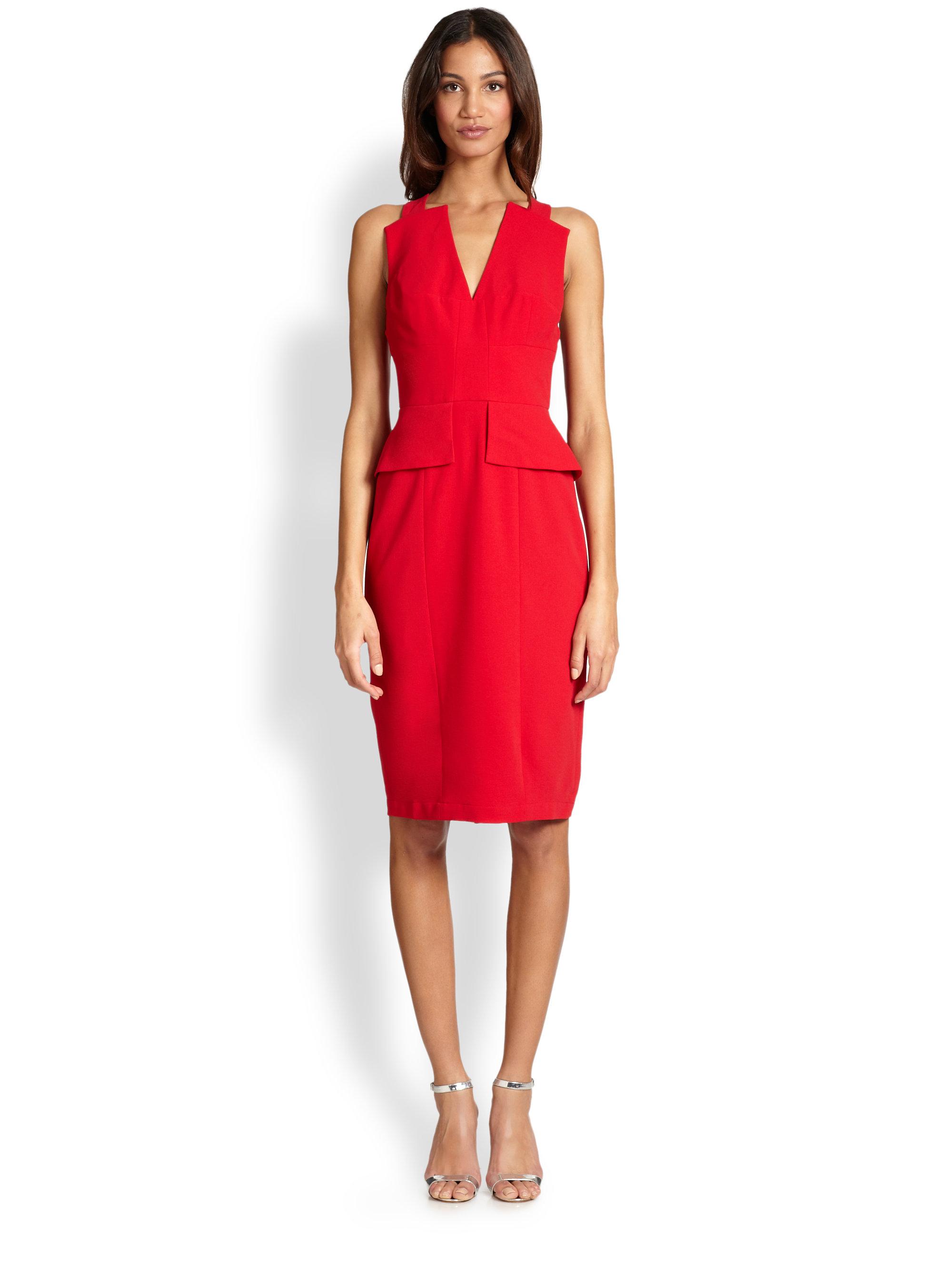 Lyst - Bcbgmaxazria Alena Peplum Dress in Red