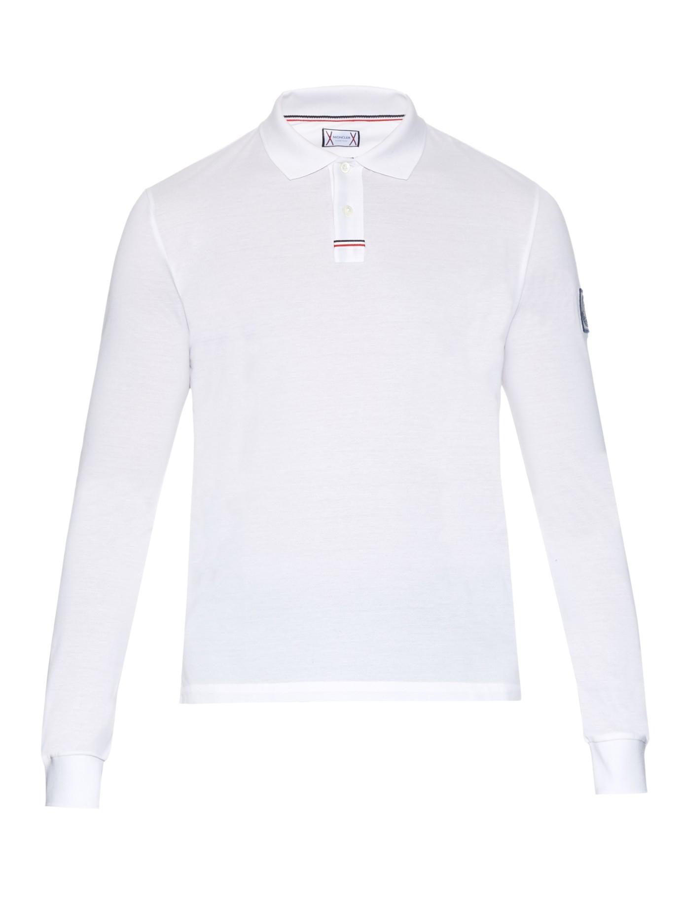 a0663bb4ad97 Lyst - Moncler Gamme Bleu Long-sleeved Cotton Piqué Polo Shirt in ...