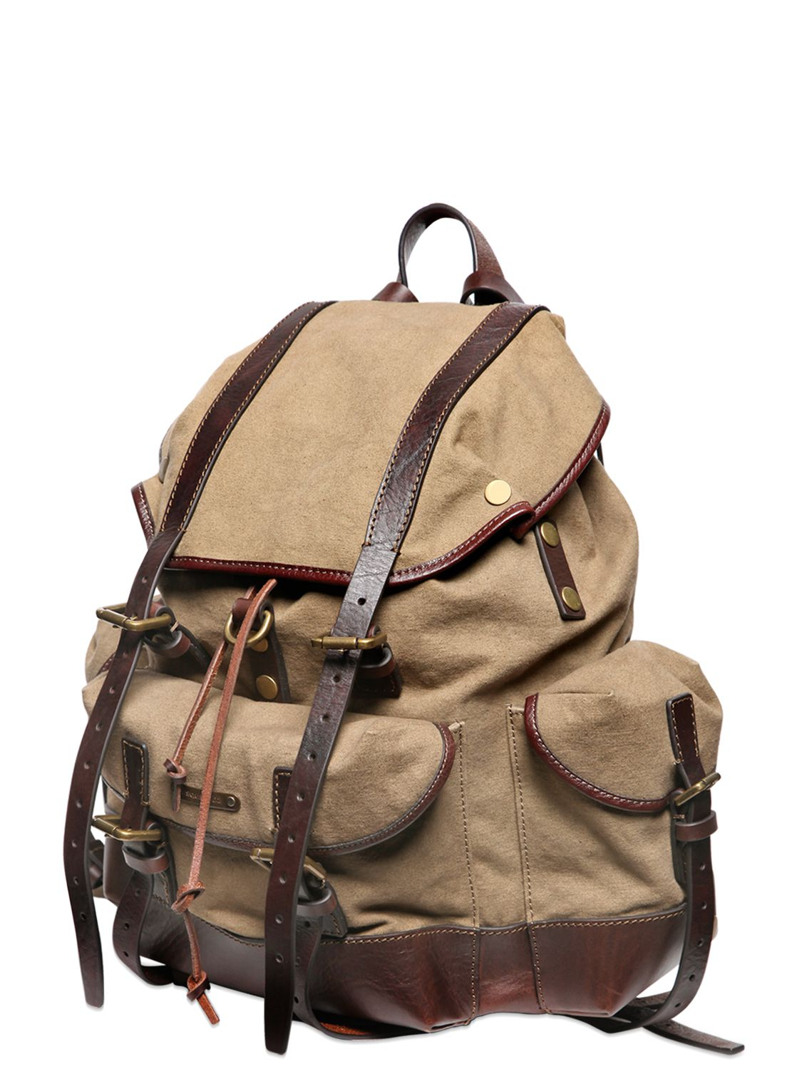 Lyst Dsquared 178 Cotton Canvas Leather Backpack In Natural