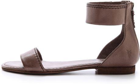 Frye Carson Ankle Zip Sandals In Gray Grey Lyst