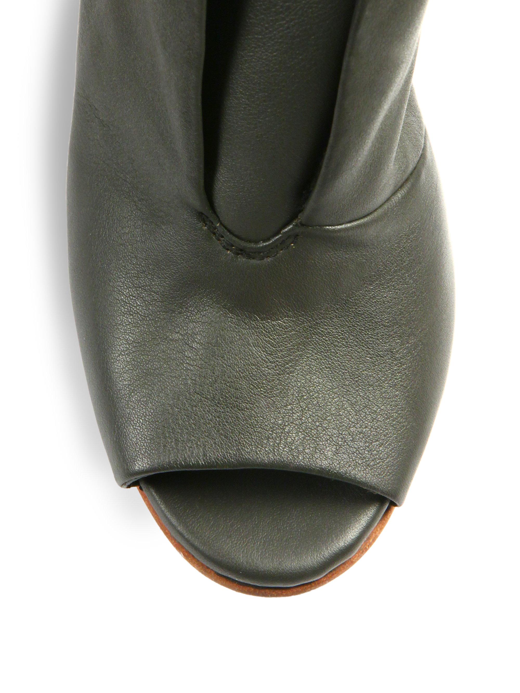 detacher billie jean leather slingback booties in gray lyst