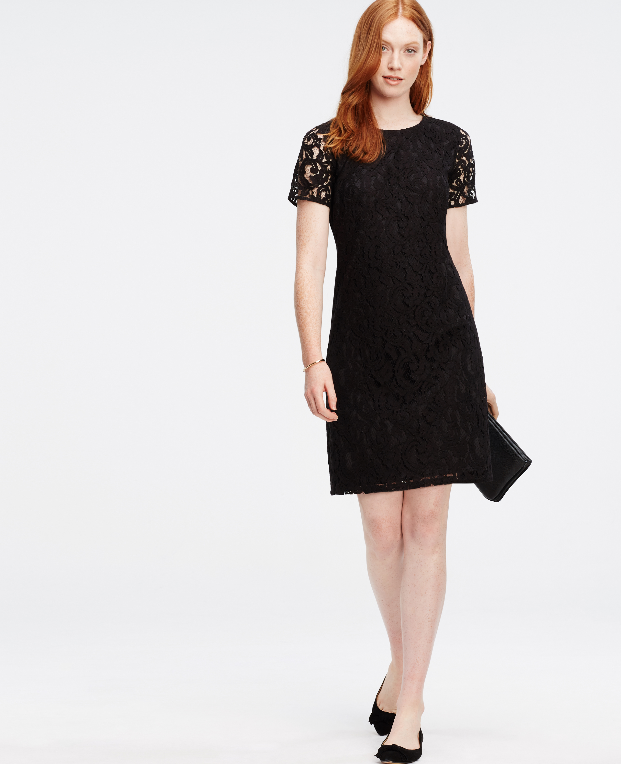 Lyst - Ann Taylor Petite Lace Shift Dress in Black
