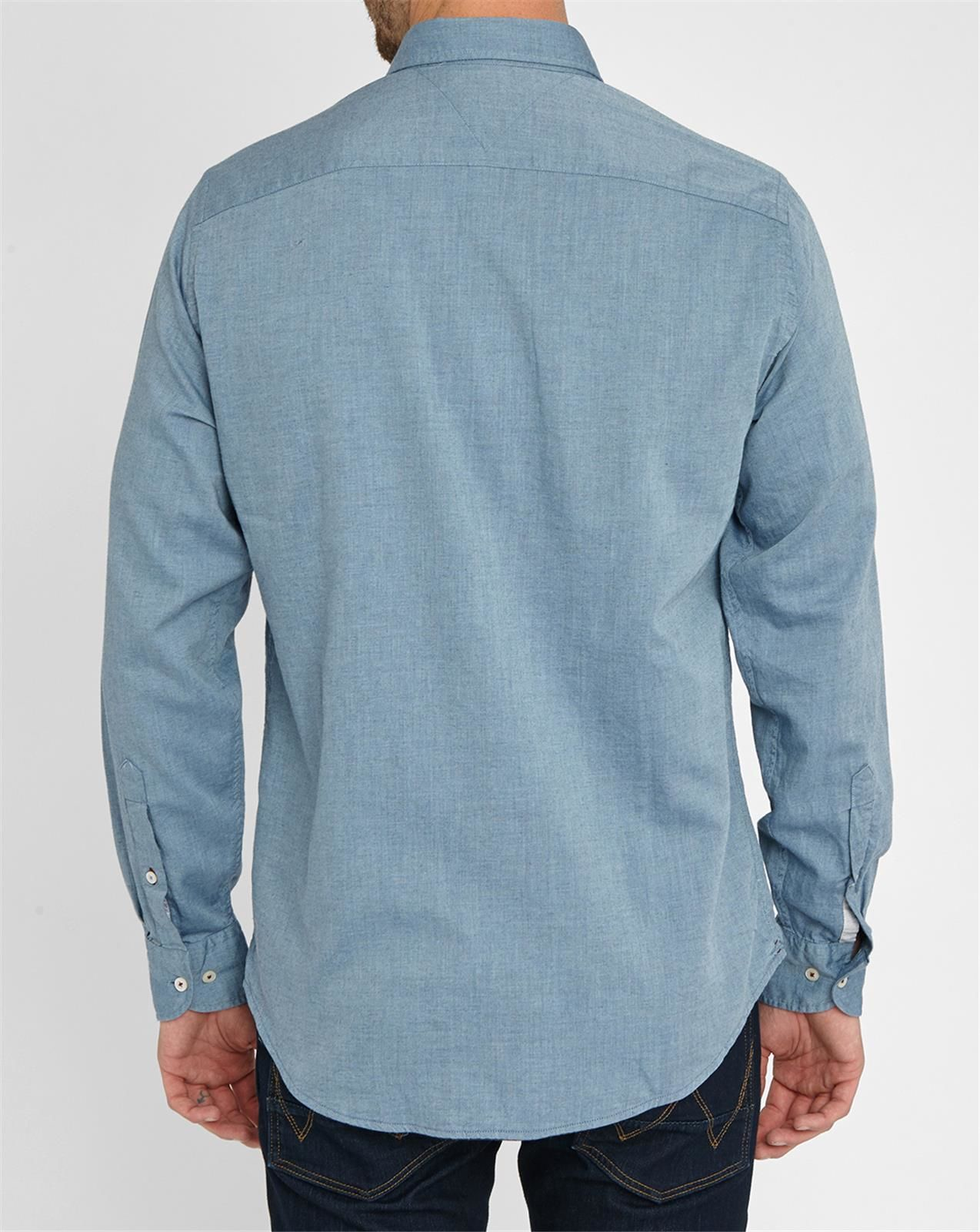 Tommy Hilfiger Blue Light Flannel Chambray Shirt In Blue