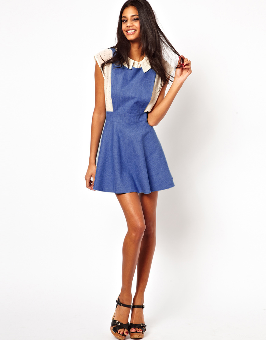 dab4fa980df8 John Zack John Zack Pinafore Dress in Denim in Blue - Lyst