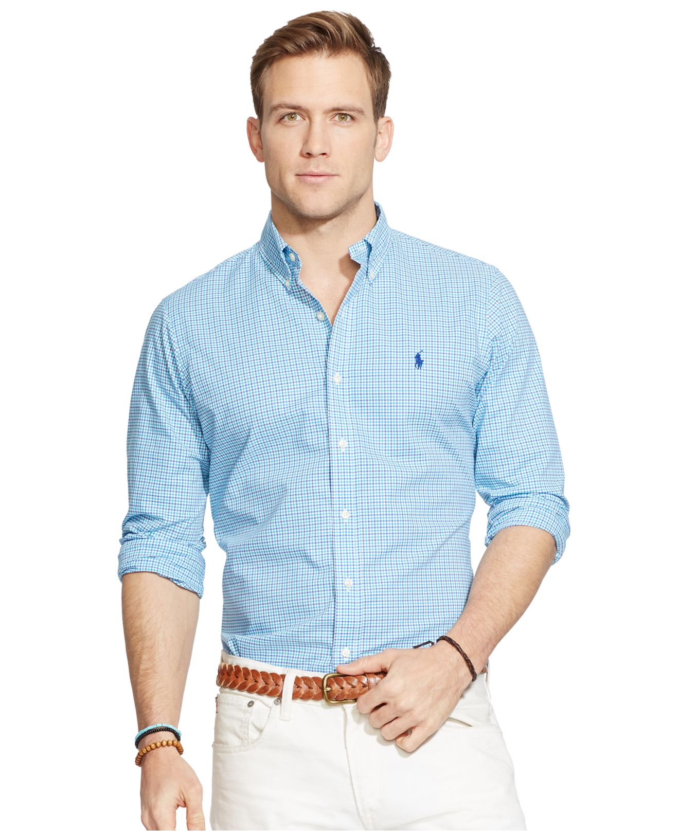 09e4df64183 reduced lyst polo ralph lauren checked poplin shirt in blue for men f21b9  27ae6