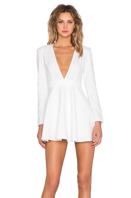 Lumier Deep V Long Sleeve Mini Dress in White | Lyst