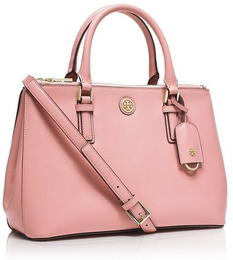 tory burch robinson mini double zip tote in pink rose sachet lyst. Black Bedroom Furniture Sets. Home Design Ideas