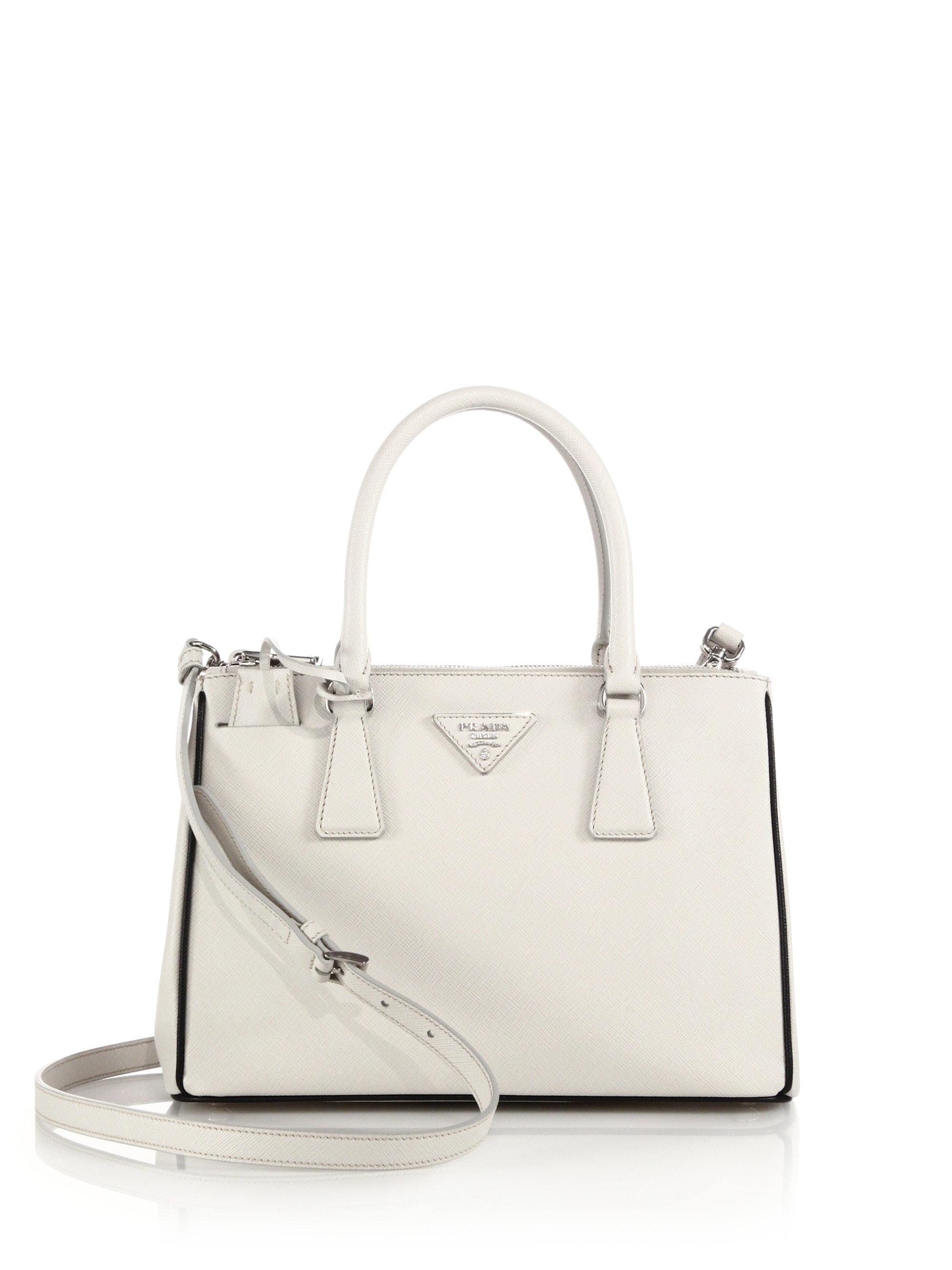 cc074c0e263 Lyst - Prada Saffiano Lux Small Double-zip Tote in White