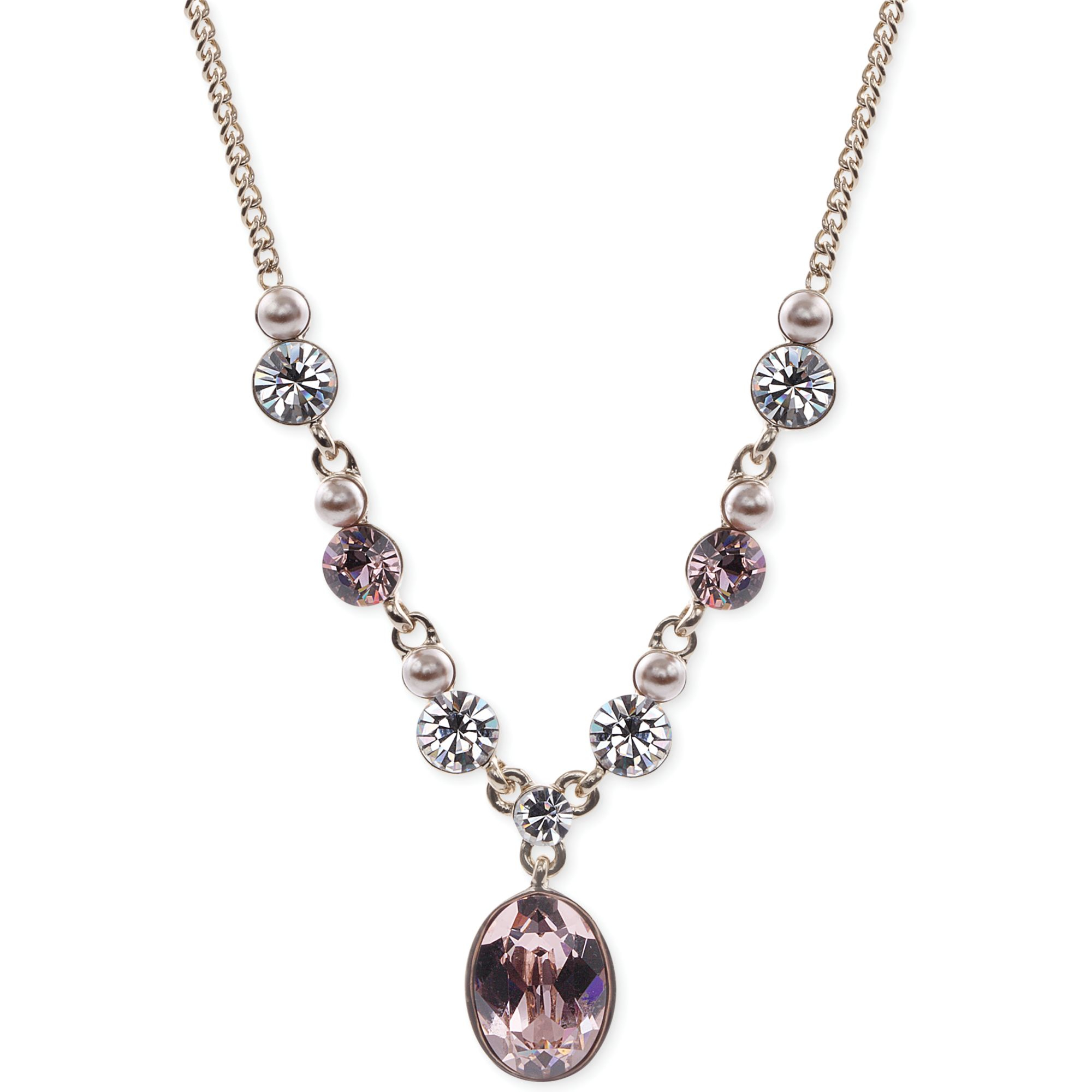 givenchy gold tone pink and glass pearl oval