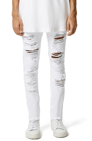 Topman 'aaa Collection' Shredded Skinny Jeans in White for Men | Lyst