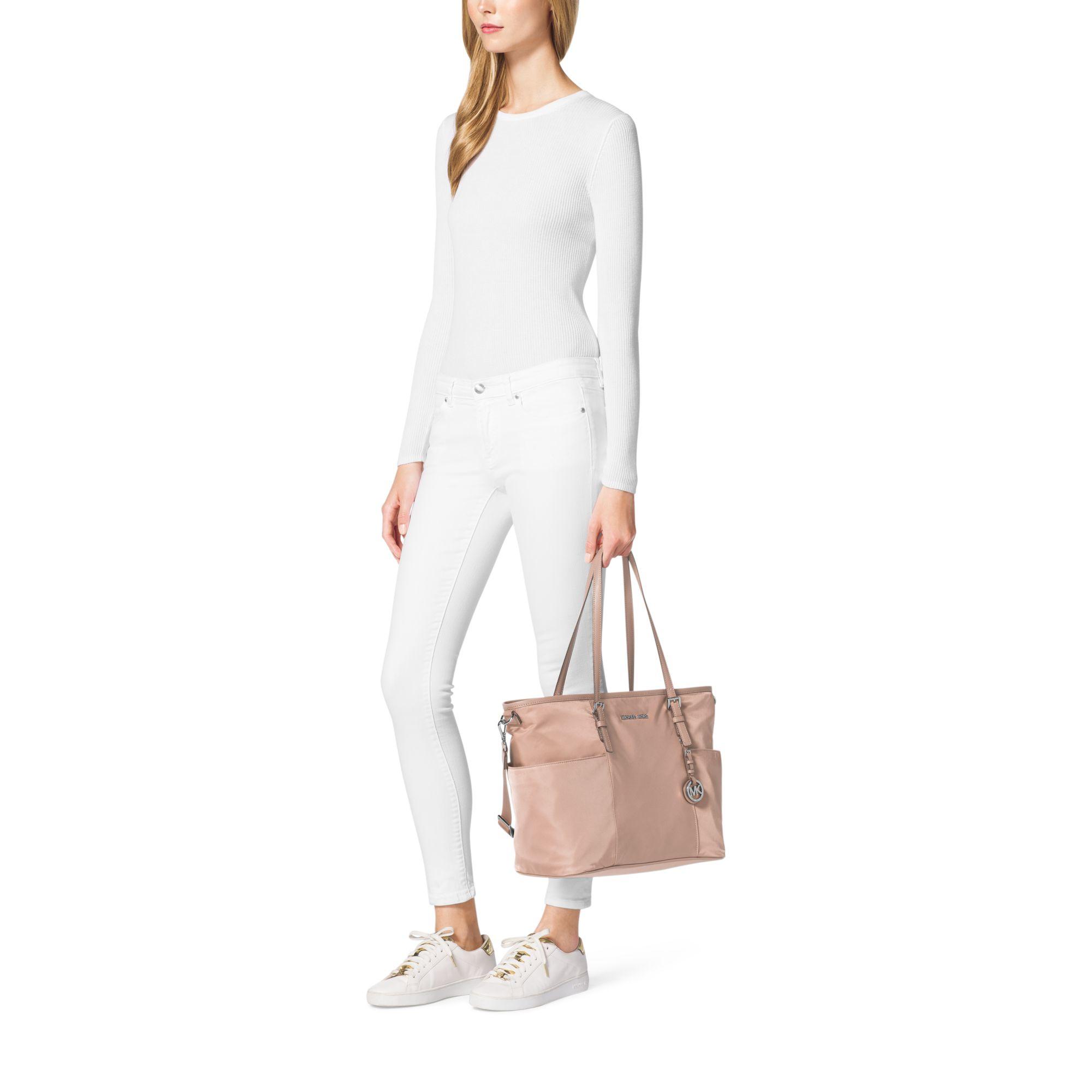 4538bc3303a1 Michael Kors Jet Set Large Nylon Backpack With Leather Straps- Fenix ...