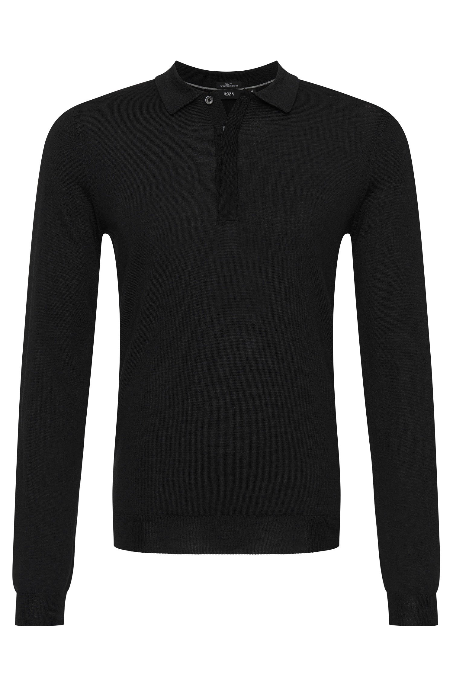 6cc7b3aff Lyst - Boss 'tesoro-f'   Slim Fit, Virgin Wool Polo Sweater in Black ...