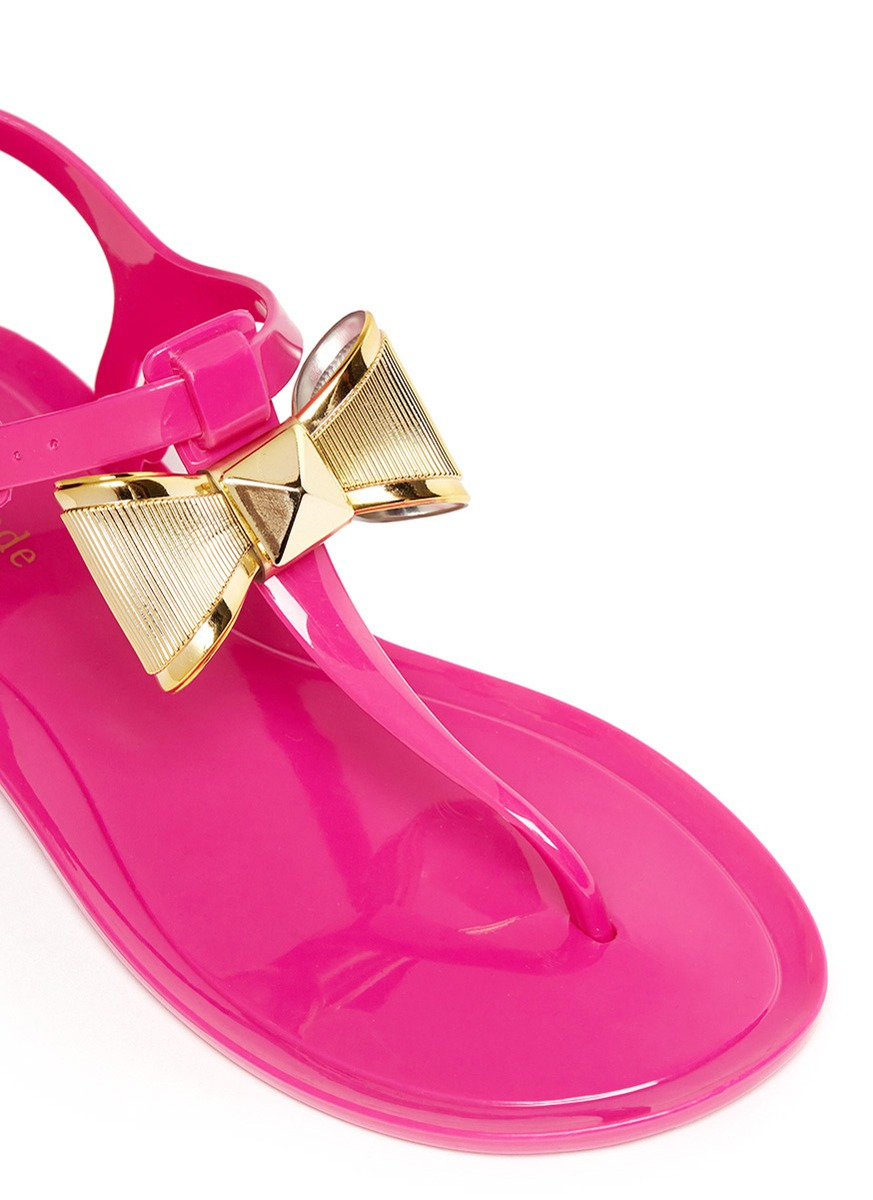 133e52bb858 Lyst - Kate Spade Fab Bow Jelly Sandals in Pink