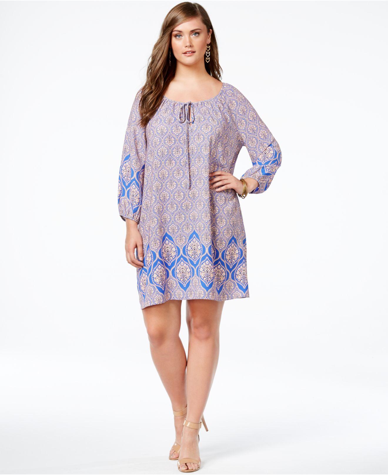 Soprano Plus Size Damask-print Peasant Dress in Blue - Lyst