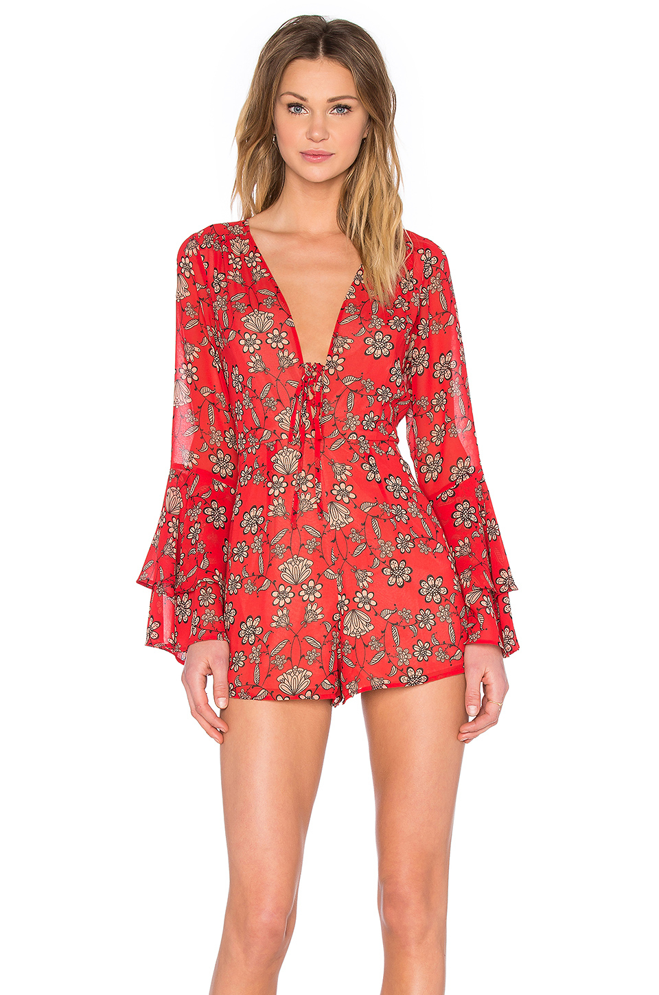 3650839e1eea Lyst - For Love   Lemons Pia Romper in Red