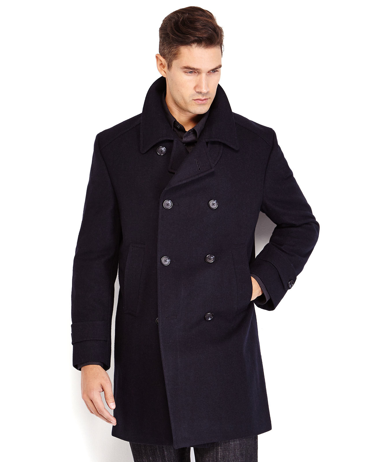 Kenneth cole Navy Double-breasted Peacoat in Blue for Men | Lyst