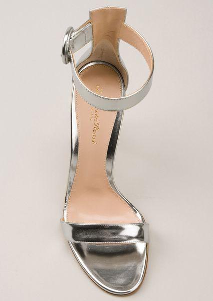 Gianvito Rossi Silver Cracked Portofino Sandals In Silver