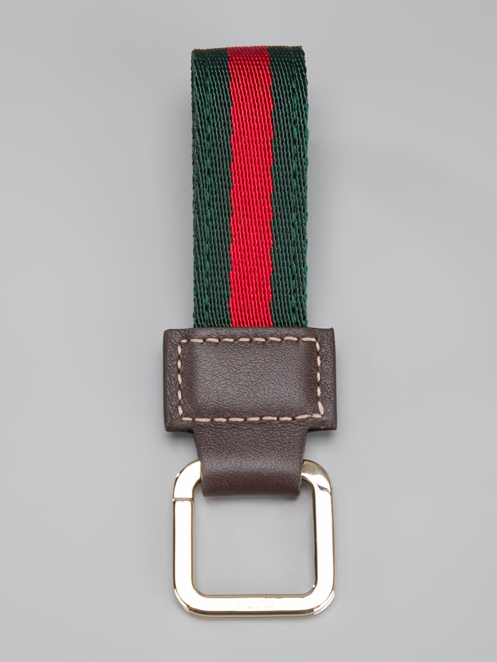 e7897d5a2f0 Lyst - Gucci Striped Loop Key Ring in Green for Men