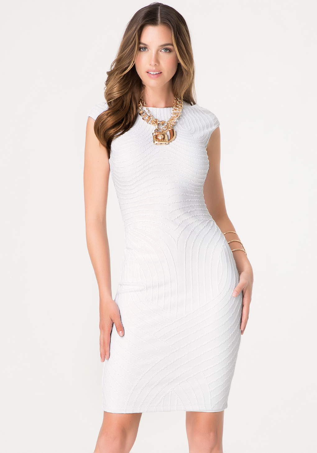39adf0821b Bebe Textured Midi Dress in White - Lyst