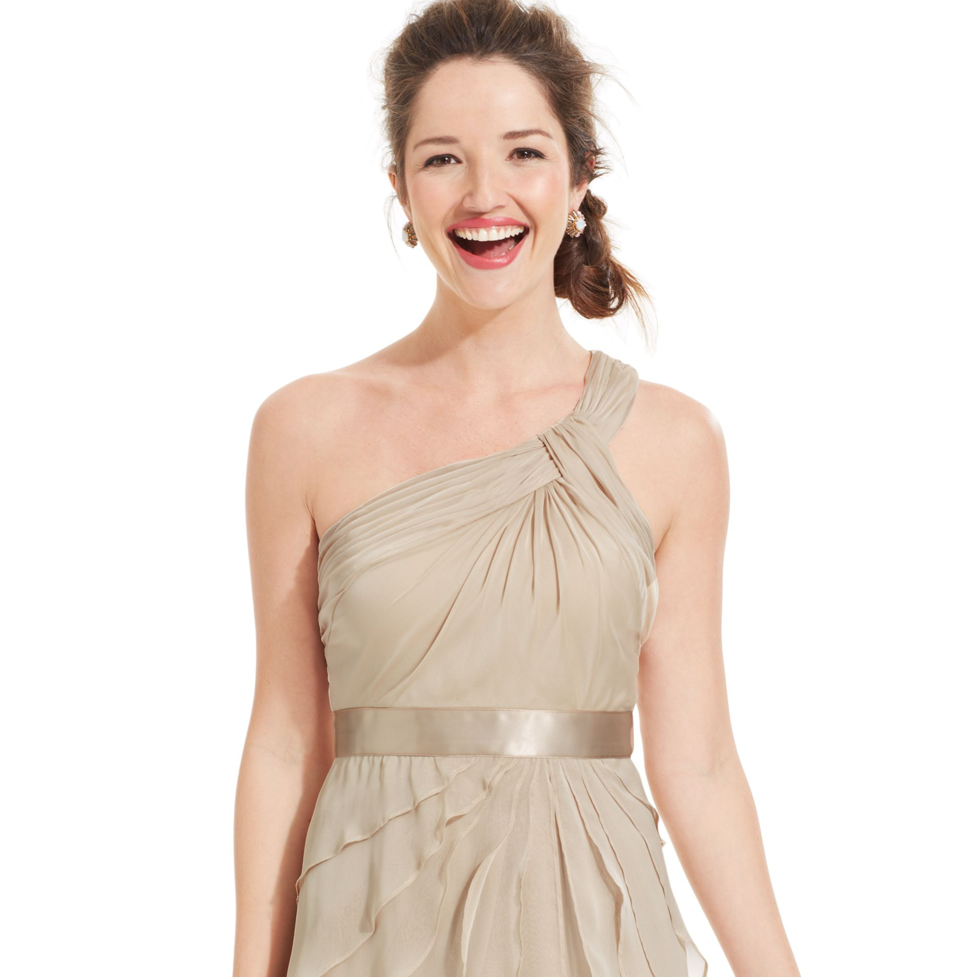 Adrianna papell One shoulder Tiered Chiffon Dress in Natural  Lyst