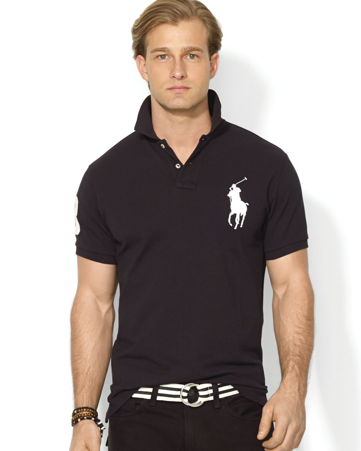 Ralph Lauren Polo Custom Big Pony Mesh Polo Shirt Slim
