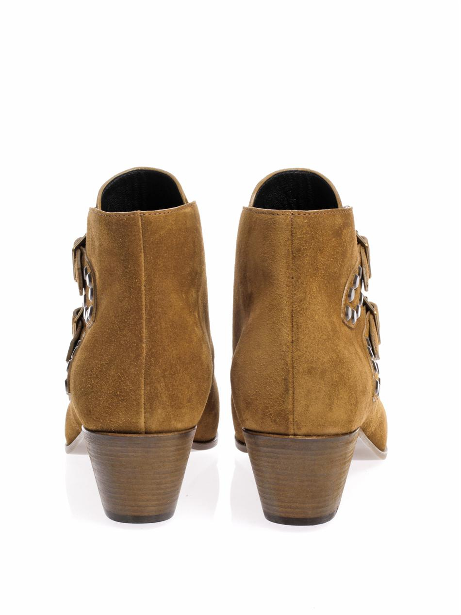 Saint Laurent Rock Double Buckle Suede Ankle Boots In Tan