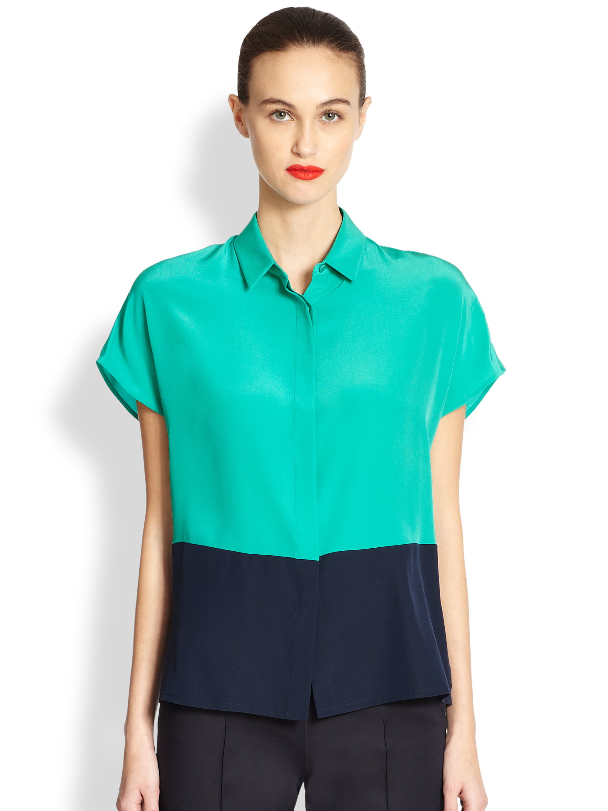 Lyst Akris Punto Two Tone Silk Blouse In Green Akris Punto Blue Two Tone Silk  Blouse