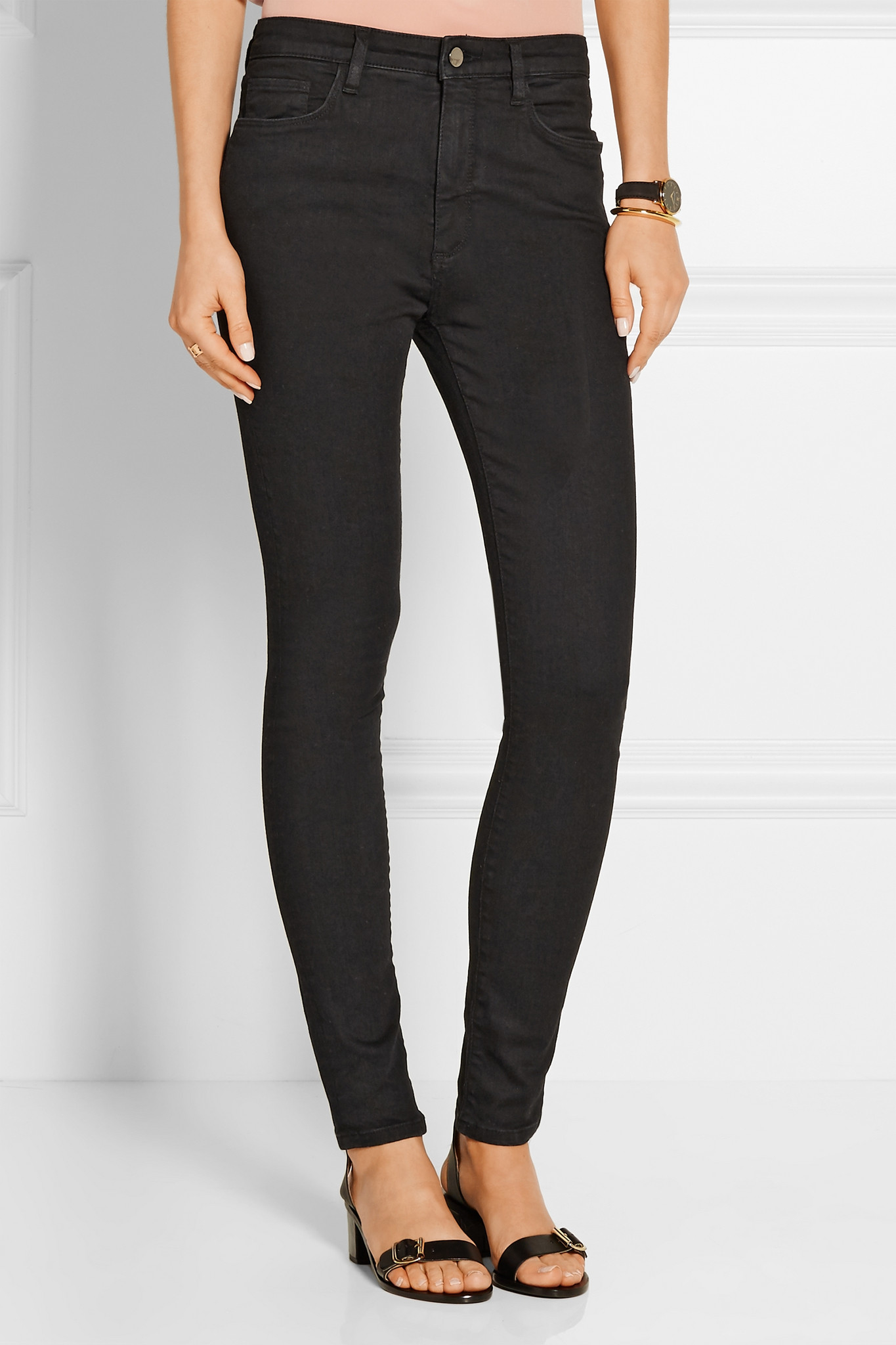 victoria victoria beckham powerhigh high rise skinny jeans in black lyst. Black Bedroom Furniture Sets. Home Design Ideas