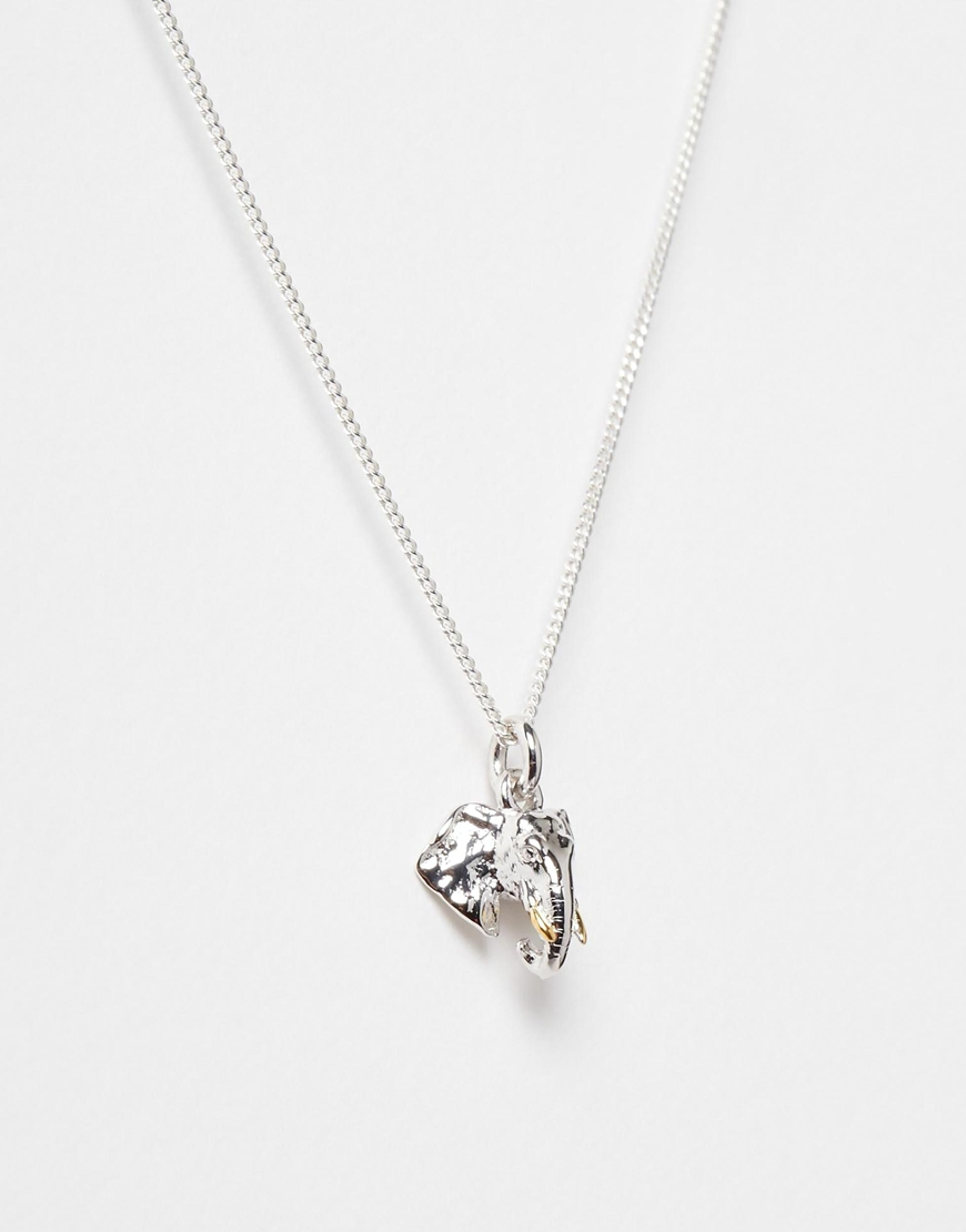 Lyst bill skinner sterling silver elephant head necklace in metallic gallery aloadofball Image collections