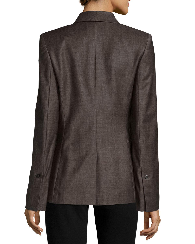 halston long sleeve slim fit blazer in black lyst. Black Bedroom Furniture Sets. Home Design Ideas