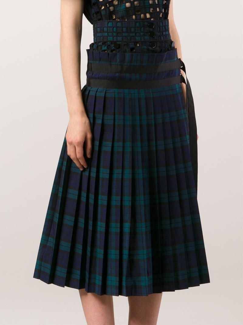 sacai plaid pleated skirt in blue lyst