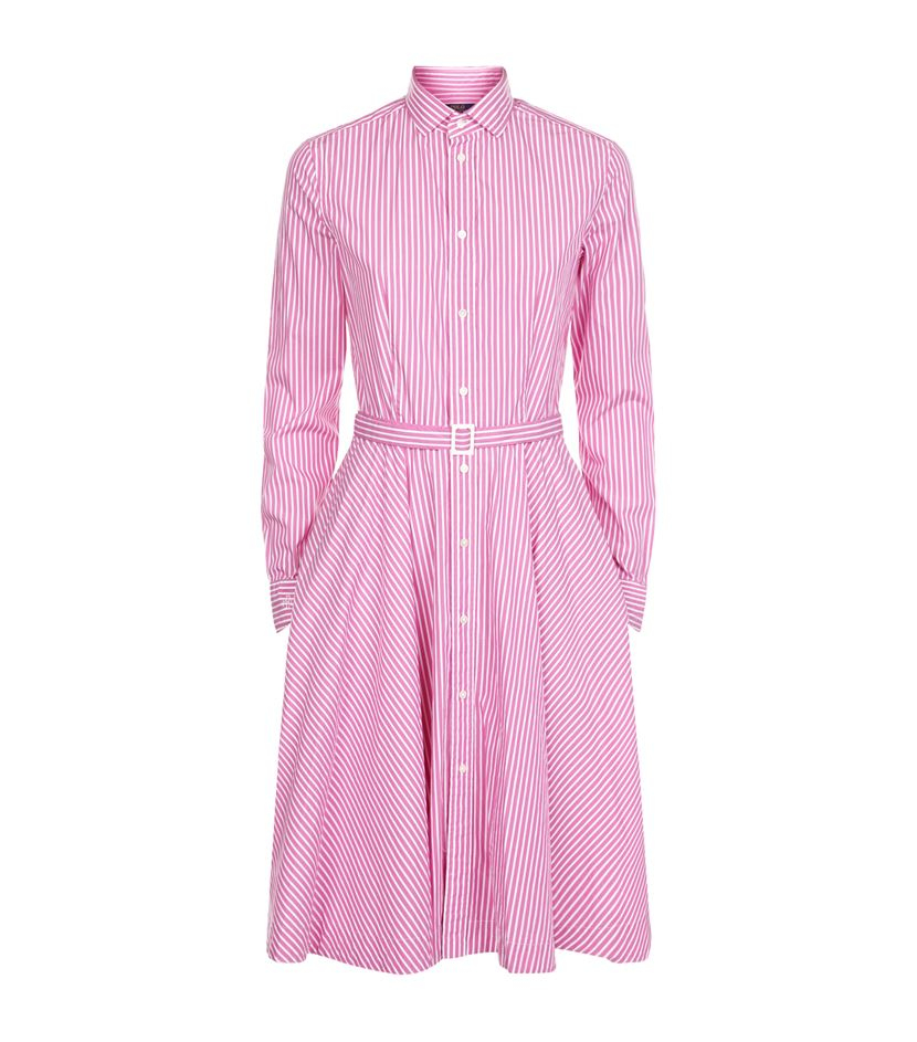 polo ralph lauren dori stripe shirt dress in pink lyst. Black Bedroom Furniture Sets. Home Design Ideas
