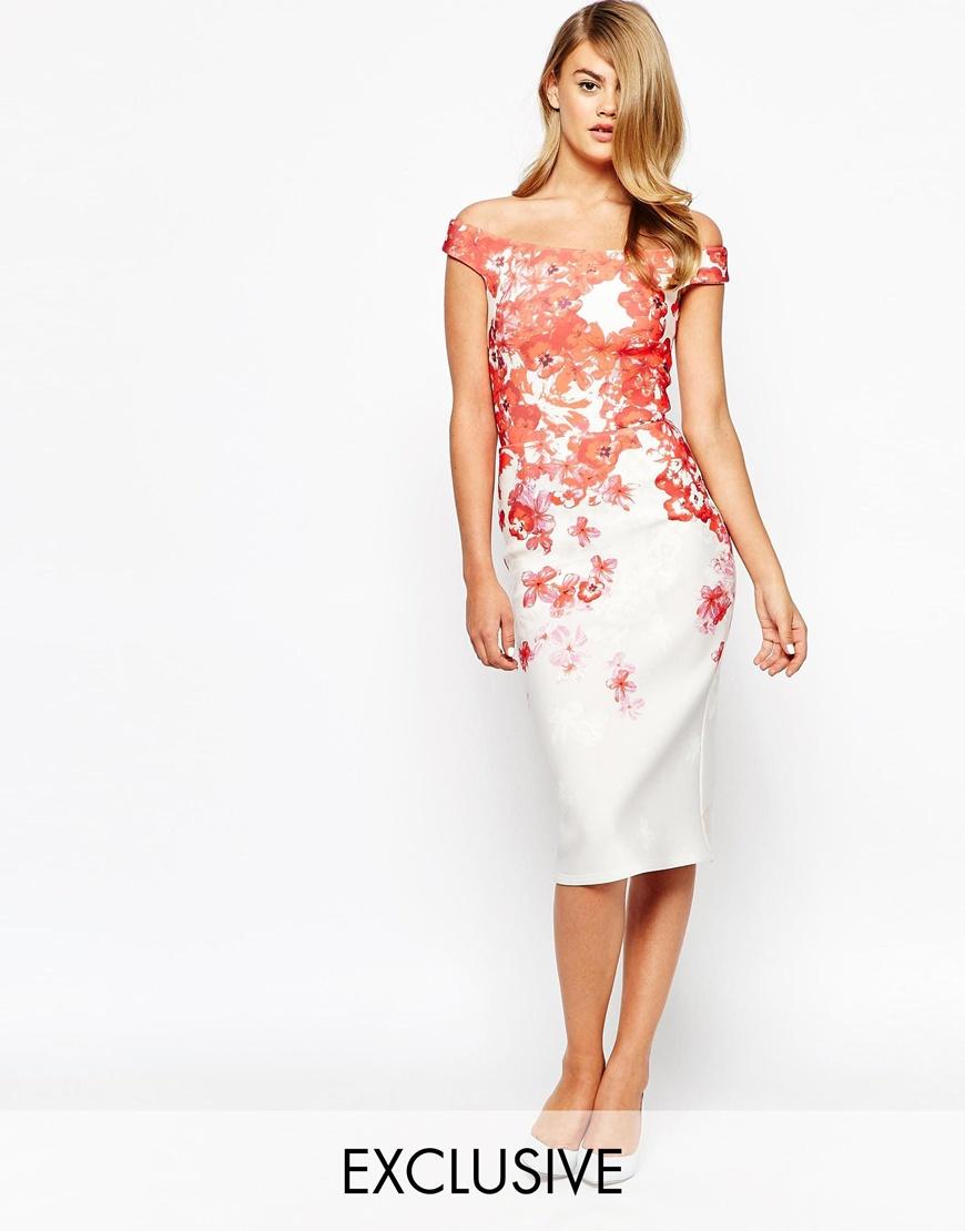 True violet Bardot Pencil Dress With Ombre Floral Print ...