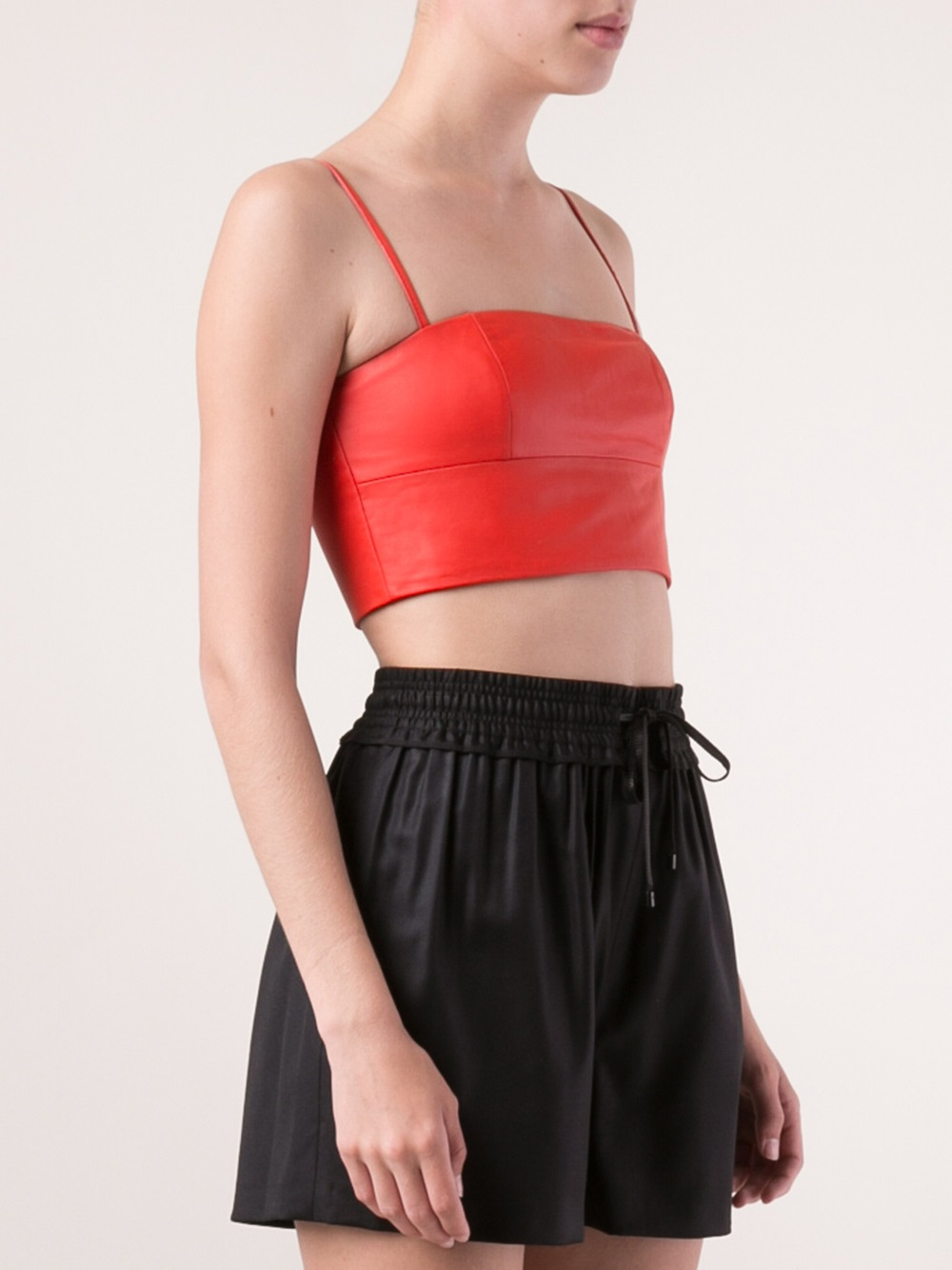 7c4d3ec406f Lyst - T By Alexander Wang Leather Bralette in Red