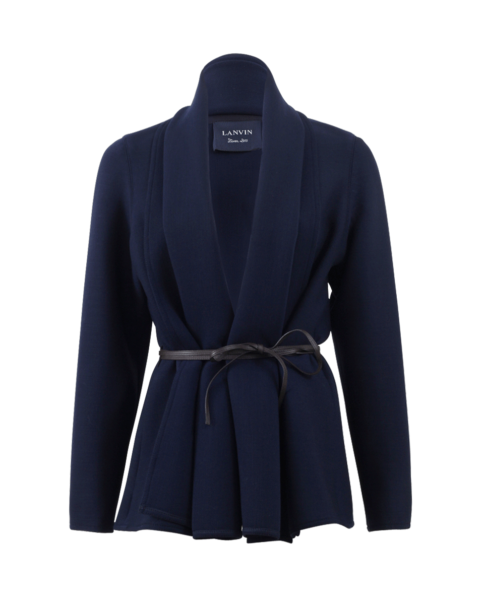 lanvin open jacket with leather belt in blue lyst