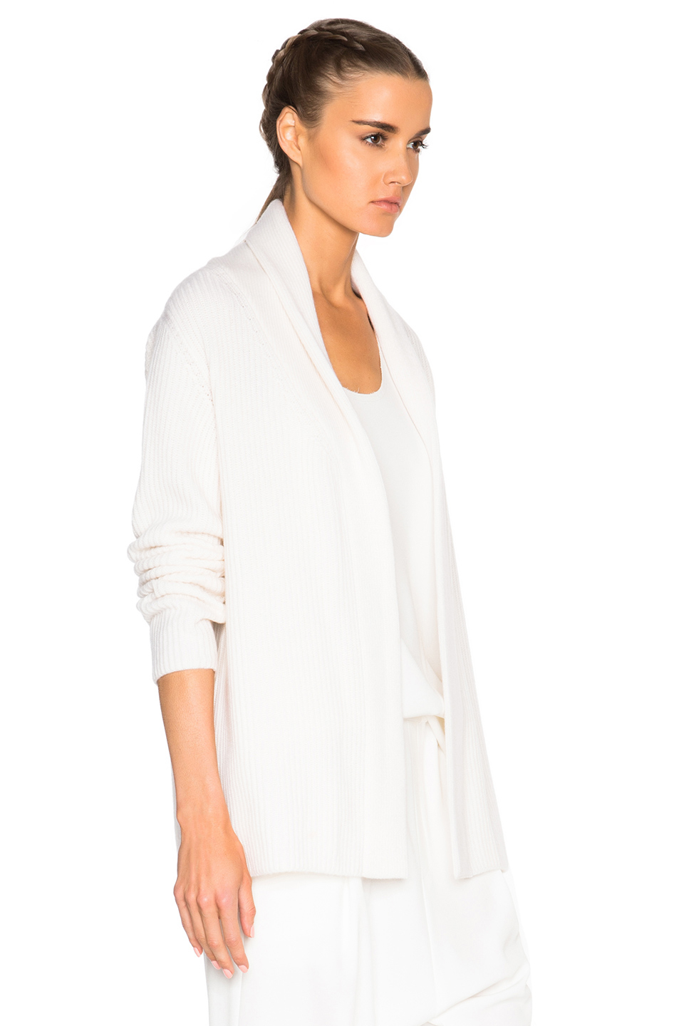 Baja east Cashmere Cardigan Sweater In Pearl in White | Lyst