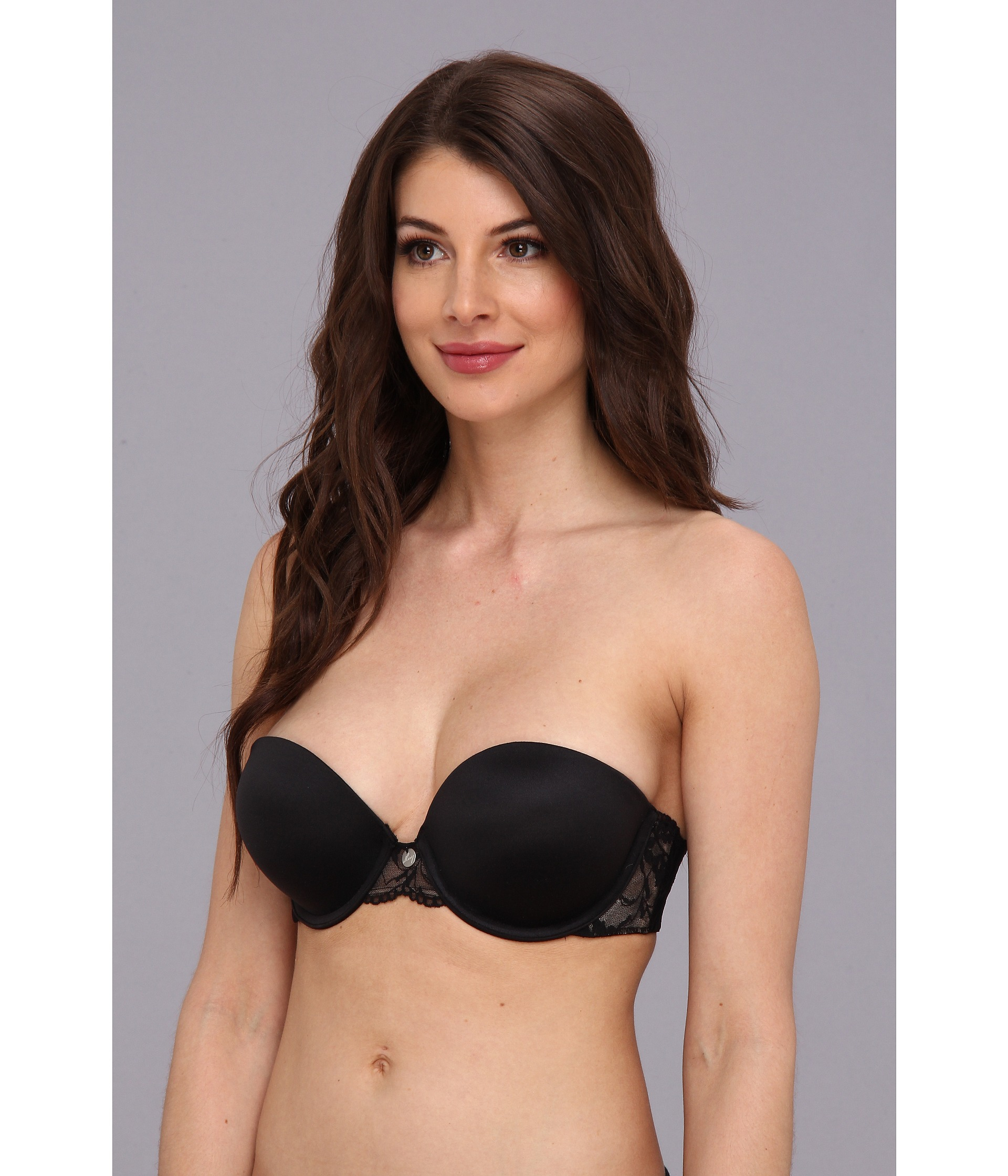 This supportive strapless bra has smooth seamless lace cups that lift and shape with both push up and support. The soft flat center front helps prevent the dreaded uni-boob look.